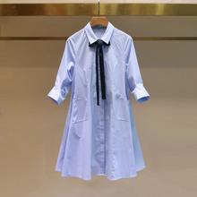 女春夏md季新式宽松cj衫式系带蓝色A字型衬衣领