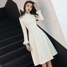 晚礼服me2020新ha宴会中式旗袍长袖迎宾礼仪(小)姐中长式