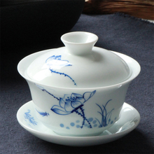 新式德me陶瓷手绘荷pr青花瓷手抓泡茶碗三才碗杯功夫茶具茶杯