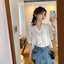 花栗鼠me姐 雪纺衫al20年夏季泡泡袖短袖温柔白色蕾丝仙气上衣