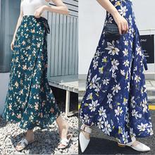 女夏2me20新式雪al式中长式碎花海边度假沙滩裹裙半身裙子