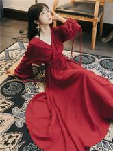 法款宫廷复古长袖连衣me7女秋季2tf款森女红色收腰云南沙漠长裙