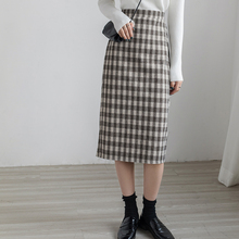 EGGmeA复古格子tf身裙女中长式秋冬高腰显瘦包臀裙开叉一步裙