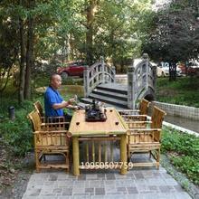 竹家具中款竹制me师椅竹沙发ha中日款茶台桌子禅意竹编茶桌椅