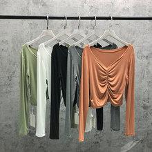 202me春装新式莫fu领长袖短式T恤女宽松简约百搭上衣褶皱T恤