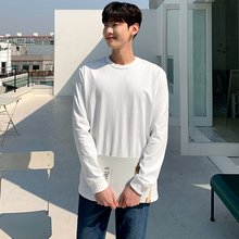 日系基me式 220er美棉潮男式打底衫纯色长袖T恤男收口打底衫