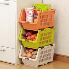 日本进me蔬菜水果厨an架收纳篮塑料缝隙储物筐果蔬叠加整理篮