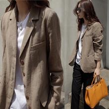 202me年春秋季亚li款(小)西装外套女士驼色薄式短式文艺上衣休闲