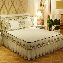 新式韩me公主三件套li棉床罩单件防滑床套1.8m双的床