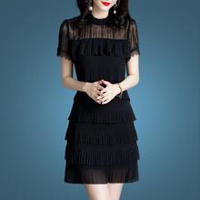 大码雪纺连衣裙女夏2020年me11季新式ve装蕾丝裙子夏天显瘦
