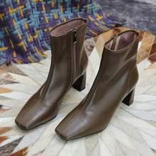202me新式韩款显al咖啡色棕色单靴粗跟中跟真皮短靴瘦瘦靴女靴