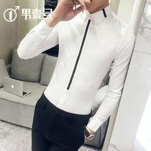 网红痞me条纹寸衣很al衫男长袖韩款修身帅气潮男发型师白短袖