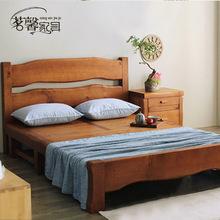茗馨实木床双的床主卧室1.8米1.5me15中款家al复古床原木