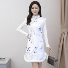202me年秋冬季修bl旗袍女装 加绒加厚保暖女中国风少女 连衣裙