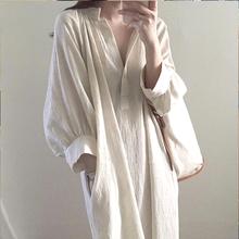 韩国cmeic宽松慵ix众棉麻衬衣裙女中长式V领过膝白色连衣裙子
