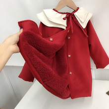 202mf新婴童装红df节过年装女宝宝荷叶领呢子外套加绒宝宝大衣