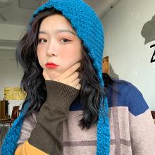 手工编mg系带纯色女iq保暖毛线帽护耳帽百搭绑带针织帽
