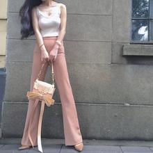 夏季职mh工作裤复古wl瘦垂感气质长裤 微喇叭休闲裤女喇叭裤