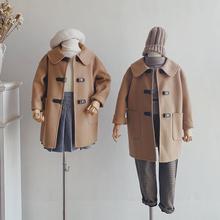 Suemitary ni的儿] 驼色全羊毛真皮扣 男童女童双面呢大衣亲子