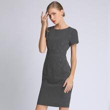 台湾新mi黑白格子包ha裙品牌女装专柜正品连衣裙夏季高档气质