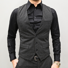 202mi春装新式 ha纹马甲 男装修身马甲条纹马夹背心男M87-2