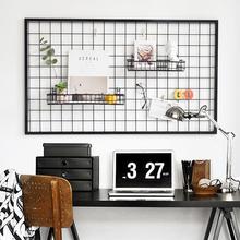 insmi欧风格客厅ha意铁艺背景照片挂墙挂架网格照片墙面装饰