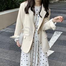 yesmioom21he式韩款简约复古垫肩口袋宽松女西装外套