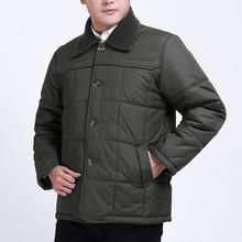 加肥加mi码冬中年男ku外套脱卸领老年的扣子棉衣爸肥佬胖棉袄