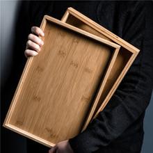 日式竹mi水果客厅(小)to方形茶具家用木质茶杯商用木制茶盘餐具