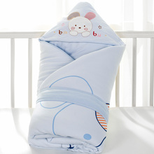 婴儿抱mi新生儿纯棉sq冬初生宝宝用品加厚保暖被子包巾可脱胆
