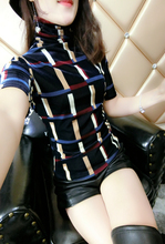 女士洋mi(小)衫时尚高ib衫短袖2020早秋新式欧洲站彩色格子上衣