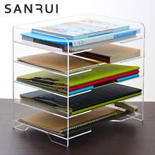 加大Ami三层亚克力es透明横式四层文件架前台办公桌面收纳架文件栏文件架横式简约