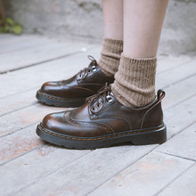 伯爵猫mi季加绒(小)皮le复古森系单鞋学院英伦风布洛克女鞋平底