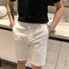 BROmiHER夏季le约时尚休闲短裤 韩国白色百搭经典式五分裤子潮