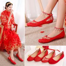 红鞋婚mi女红色平底le娘鞋中式孕妇舒适刺绣结婚鞋敬酒秀禾鞋