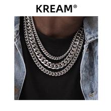 KREAM silmi6er嘻哈le链欧美潮流百搭cuban 高质钛钢男女素链