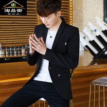 男士春mi季休闲(小)西le修身青年衣服潮流西装套装英伦风外套男