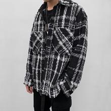 ITSmiLIMAXle侧开衩黑白格子粗花呢编织衬衫外套男女同式潮牌