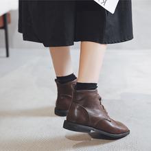 方头马mi靴女短靴平le20秋季新式系带英伦风复古显瘦百搭潮ins