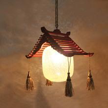 中款田园复mi实木餐吊灯le村仿古个性创意咖啡厅酒吧阳台灯