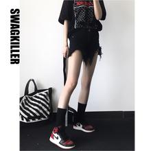 SwagKiller 黑色流苏撕mi13牛仔短le性 夏天哦!显腿长!