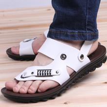 新式男士凉鞋真皮夹mi62021le潮休闲韩款白色沙滩鞋透气凉拖
