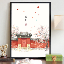 数字油mi手工diyto客厅中国风手绘油彩三联田园复古风