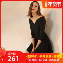 年会礼服裙mi本(小)黑裙2to新款中袖聚会(小)礼服气质V领连衣裙女