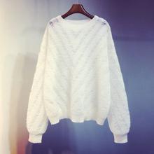 秋冬季mi020新式to空针织衫短式宽松白色打底衫毛衣外套上衣女