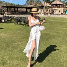 白色吊mi连衣裙20do式女夏性感气质长裙超仙三亚沙滩裙海边度假