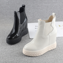 欧洲站mi跟鞋女20it冬式漆皮11cm超高跟厚底女鞋内增高套筒短靴