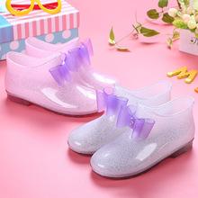 日式儿mi雨鞋淑女公en雨鞋水晶果冻透明胶鞋低筒轻便宝宝雨靴