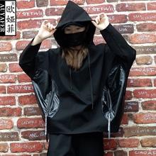 欧美春mi蝙蝠袖个性si松BF风女装连帽衫休闲长袖潮牌上衣外套