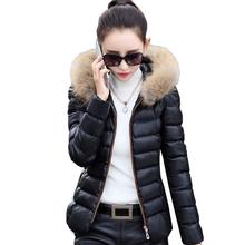 202mi冬装新式女si短式PU皮羽绒棉衣外套矮个子韩款(小)棉袄修身